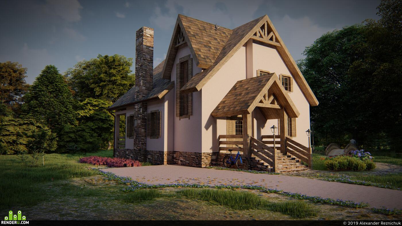 частный дом, Загородный дом, Визуализация экстерьеров