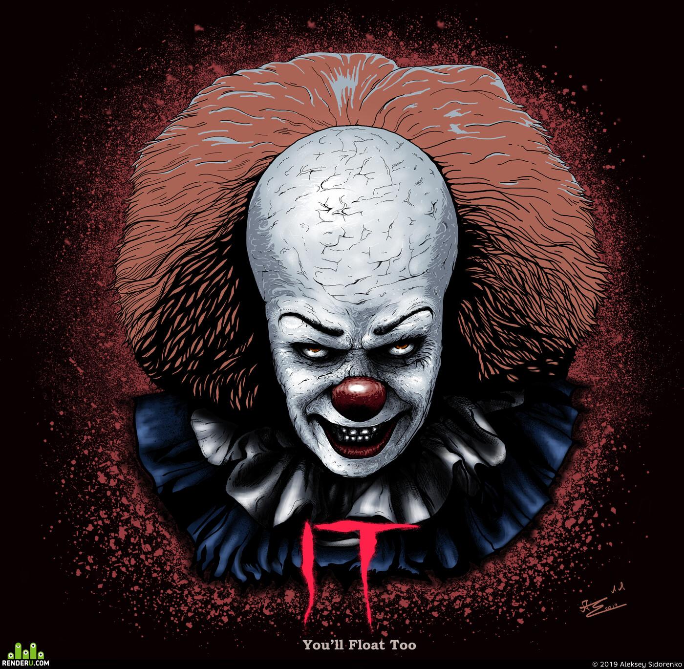 оно, Монстры, клоун, Концепт-арт, арт, Хеллоуин, фильмы, ужасы