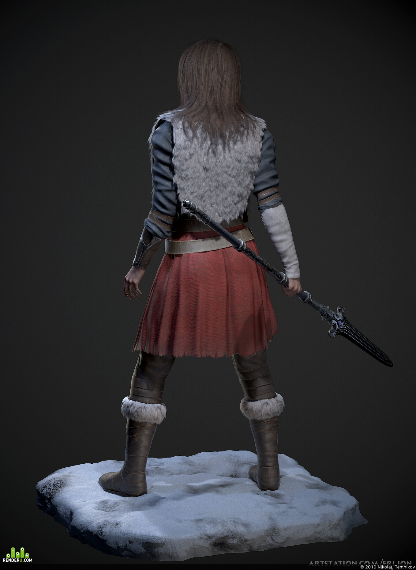 realtime, female, Fantasy, Scout, hair, spear, Character