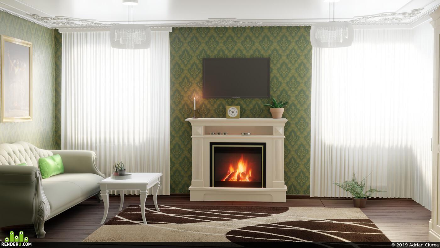 Blender, Eevee, диван, гостиная, декор, классический, мебель