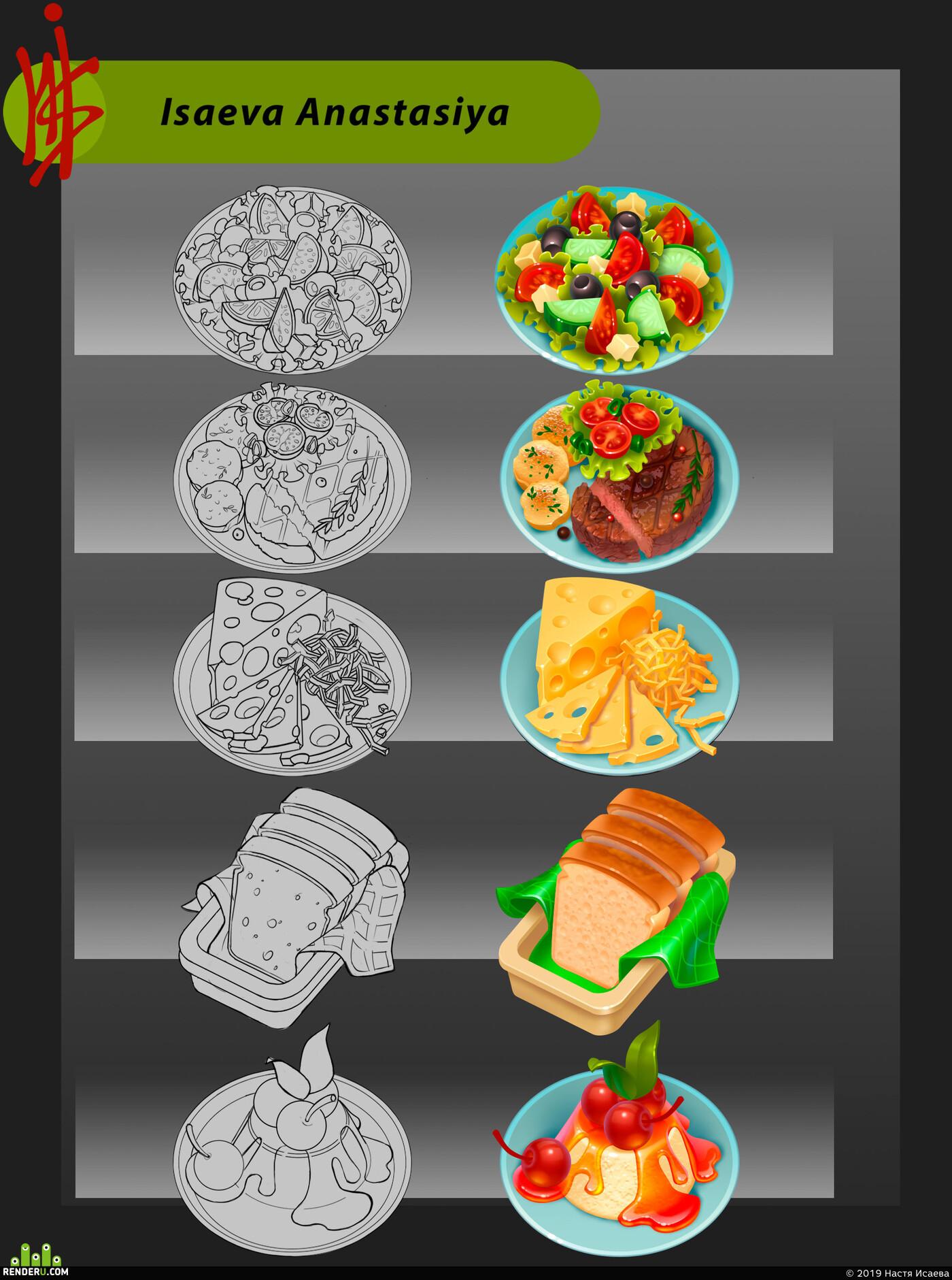 DIgital painting, 2D art, content, cg art, gameart, food