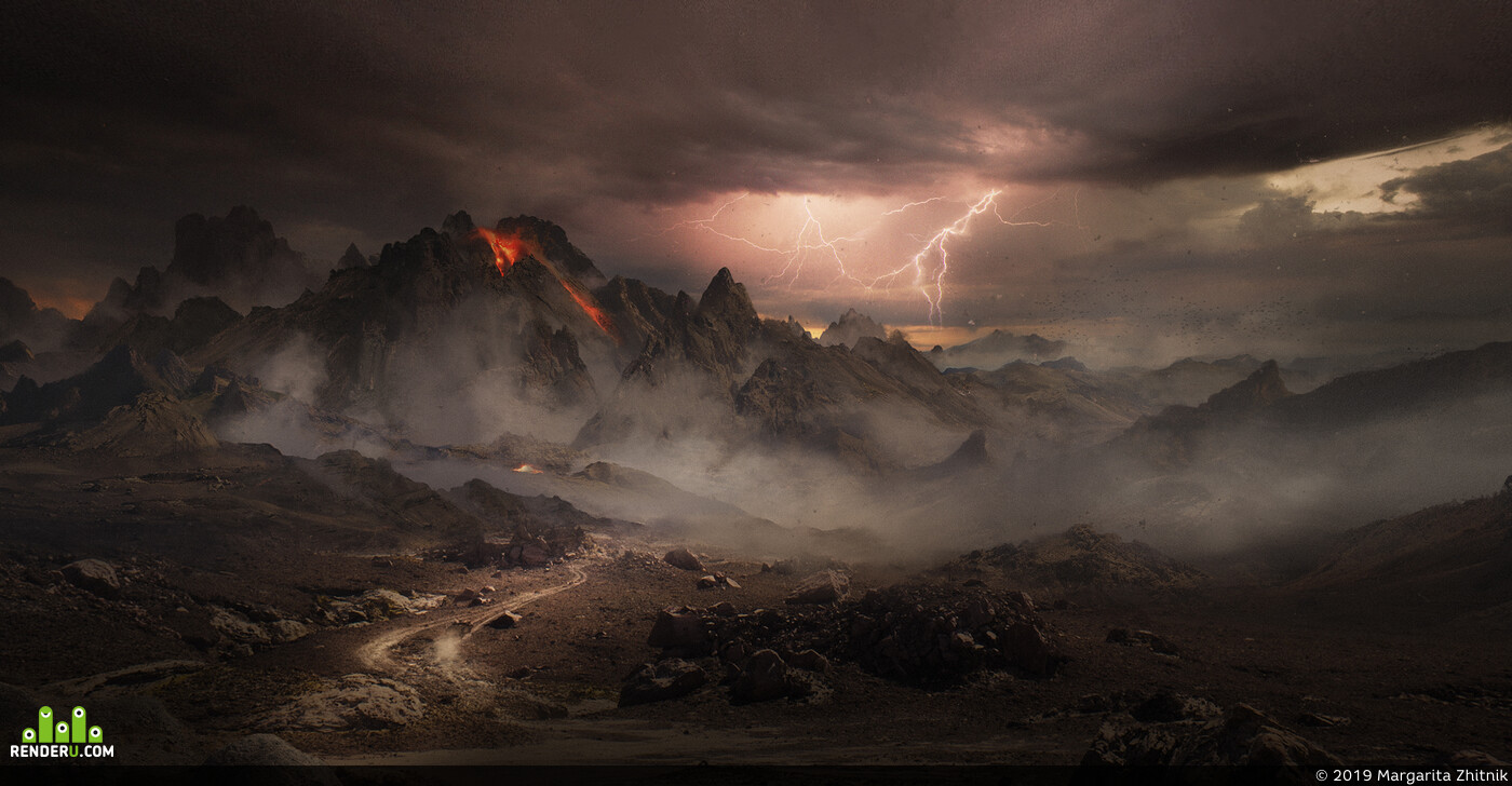 mattepainting, Concept Art, mountains, environment, environment design