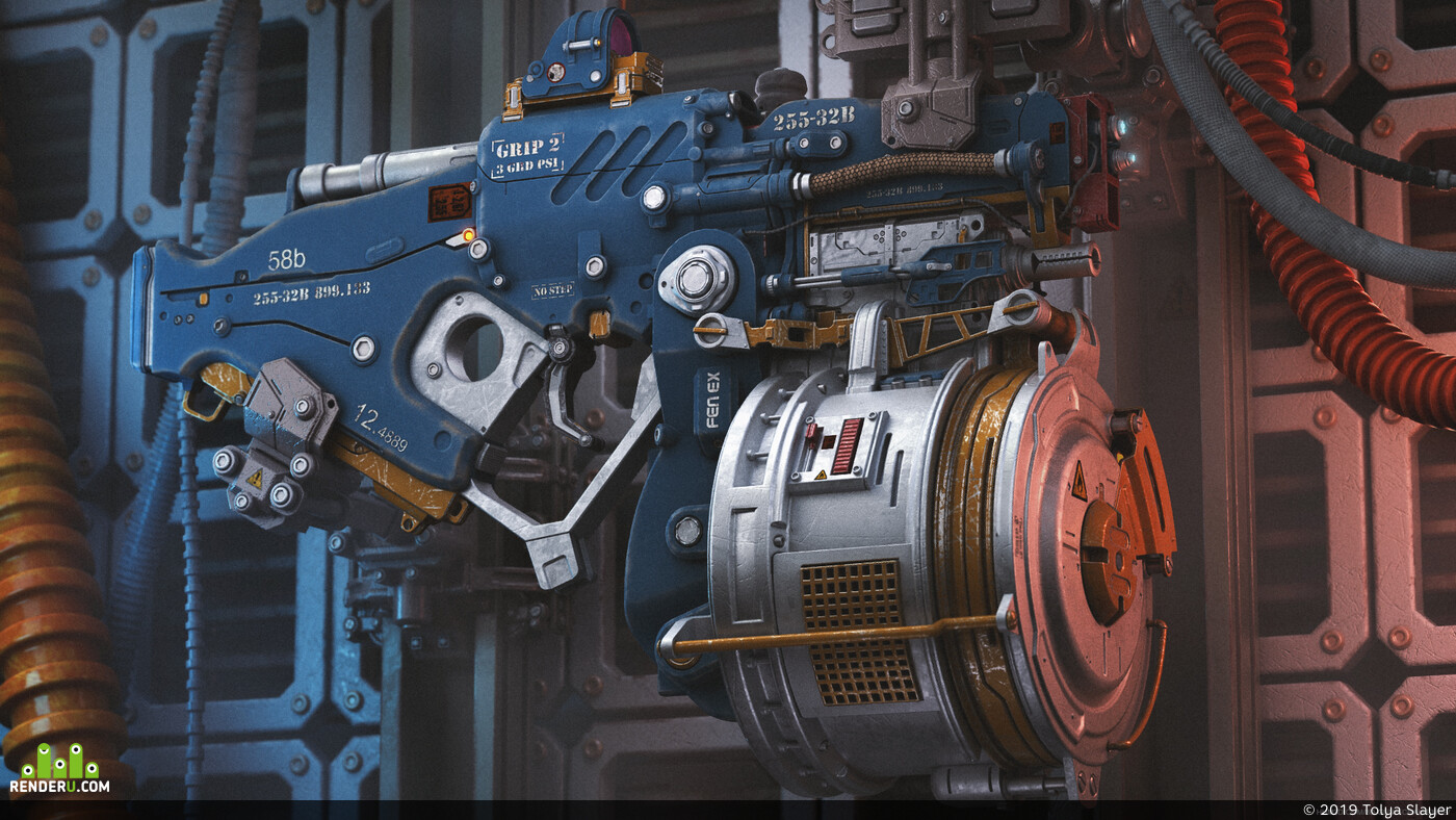 gun, sci-fi gun, weapon, sci-fi weapon, future, Concept Art, 3d concept, Adobe Photoshop, game art, Modo