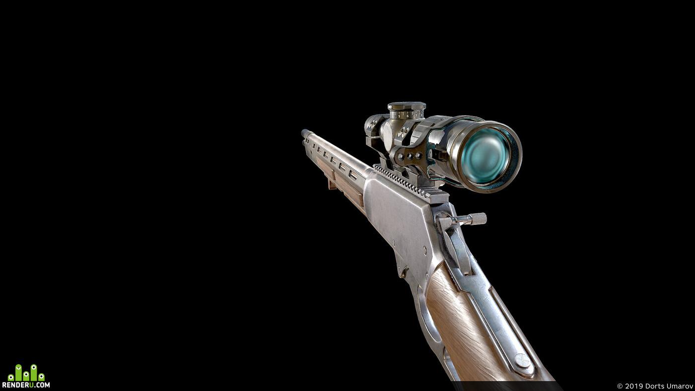 блендер, оружие, лоуполи, 3d анимация