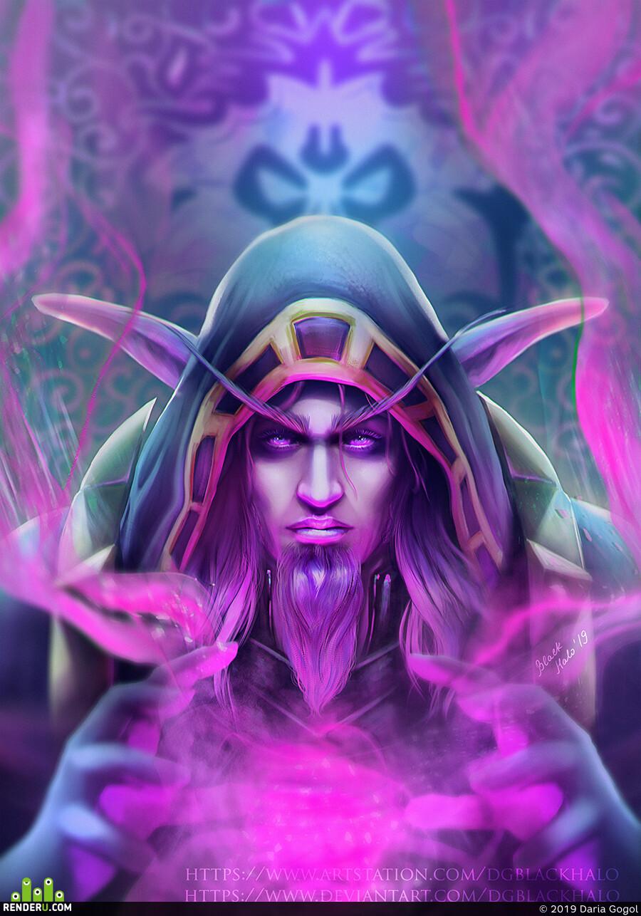 wow, ночной эльф, Персонаж, магия, волшебник, иллюстрация, цифровая живопись, цифровой портрет