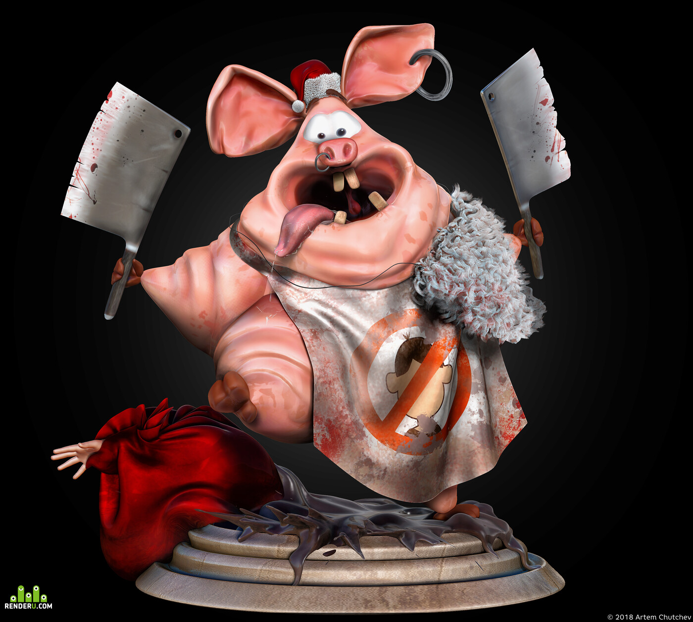 new year, pig, Character, 3d, ZBrush