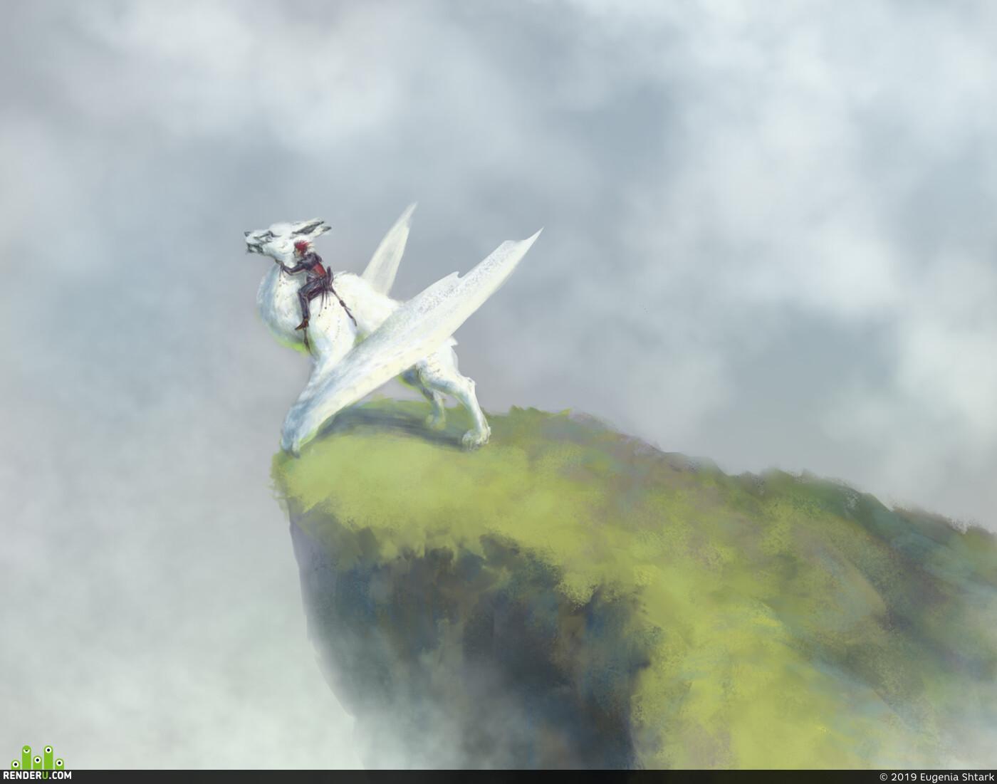 рисункинаскорость, Всадник, всадник в тумане, зверь, крылатый, Скала, туман