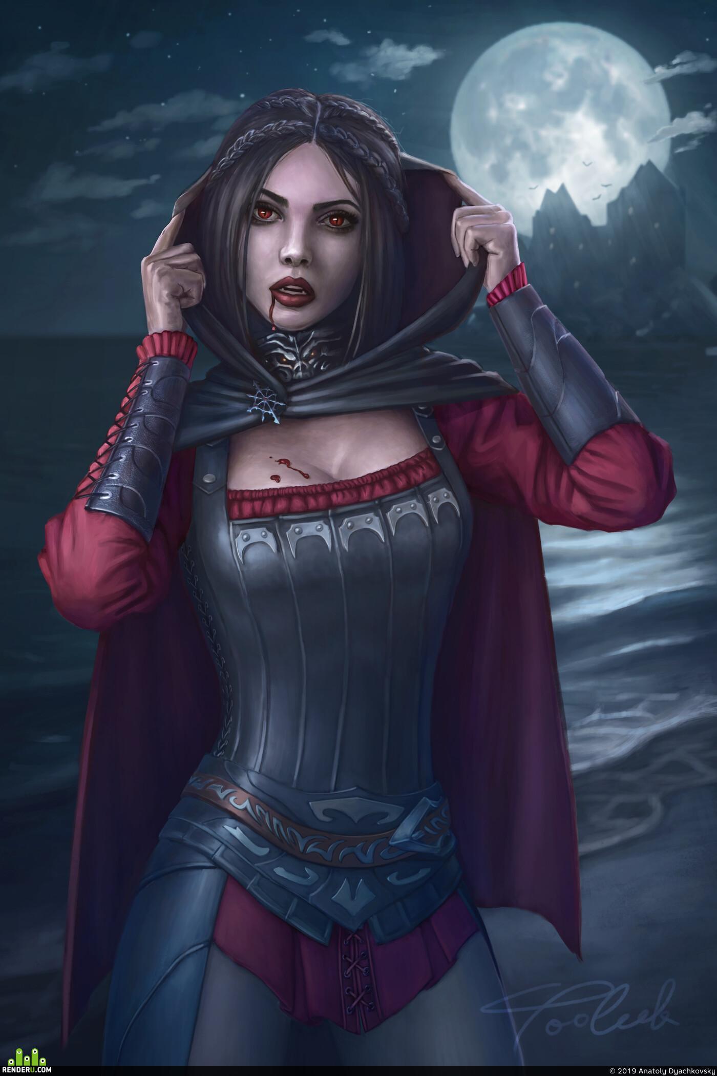 art, drawing, painting, wow, girl, vampire, serana, theElderScrolls
