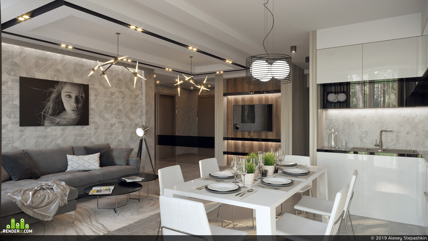 гостиная, современный стиль, светлая кухня, кухня-гостиная