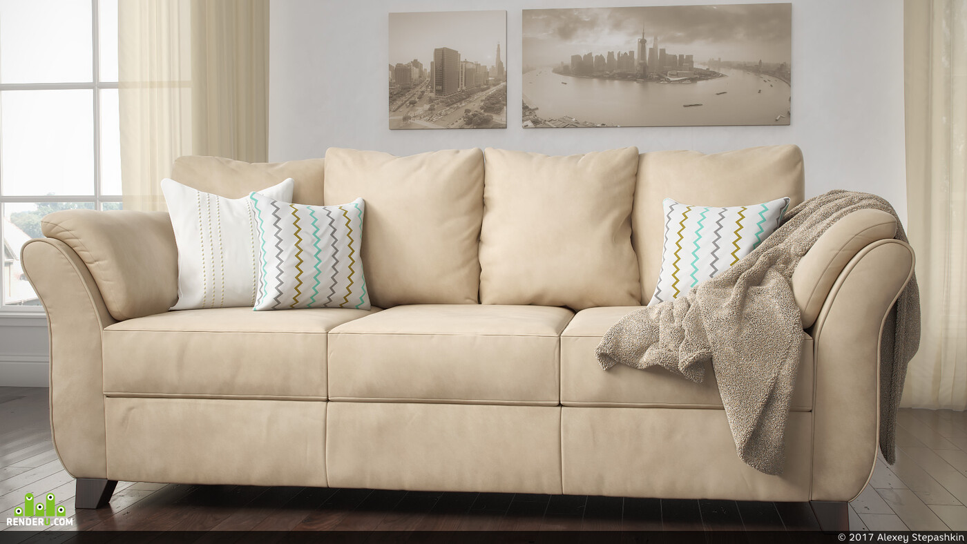 диван, 3д визуализация, 3д моделирование, Предметная визуализация мебели