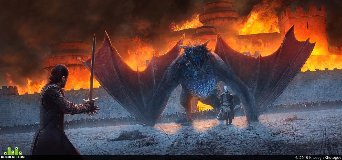 Игра Престолов 8 сезон, Игра престолов, джон сноу, король ночи, винтерфелл, дракон, битва, фанарт, Game of Thrones