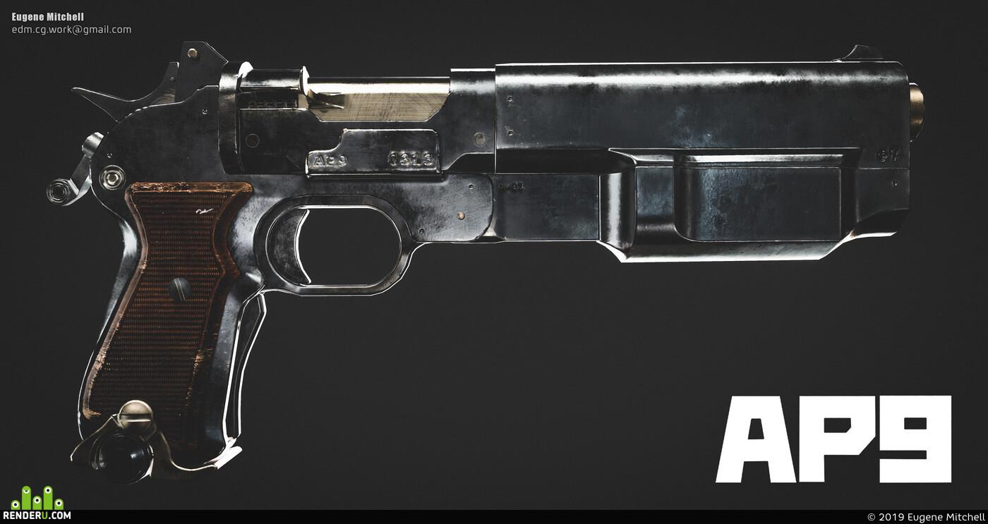 Game props, sci fi weapon, Weapons, gun, оружие, пистолет, low poly, игровая модель, Game-ready