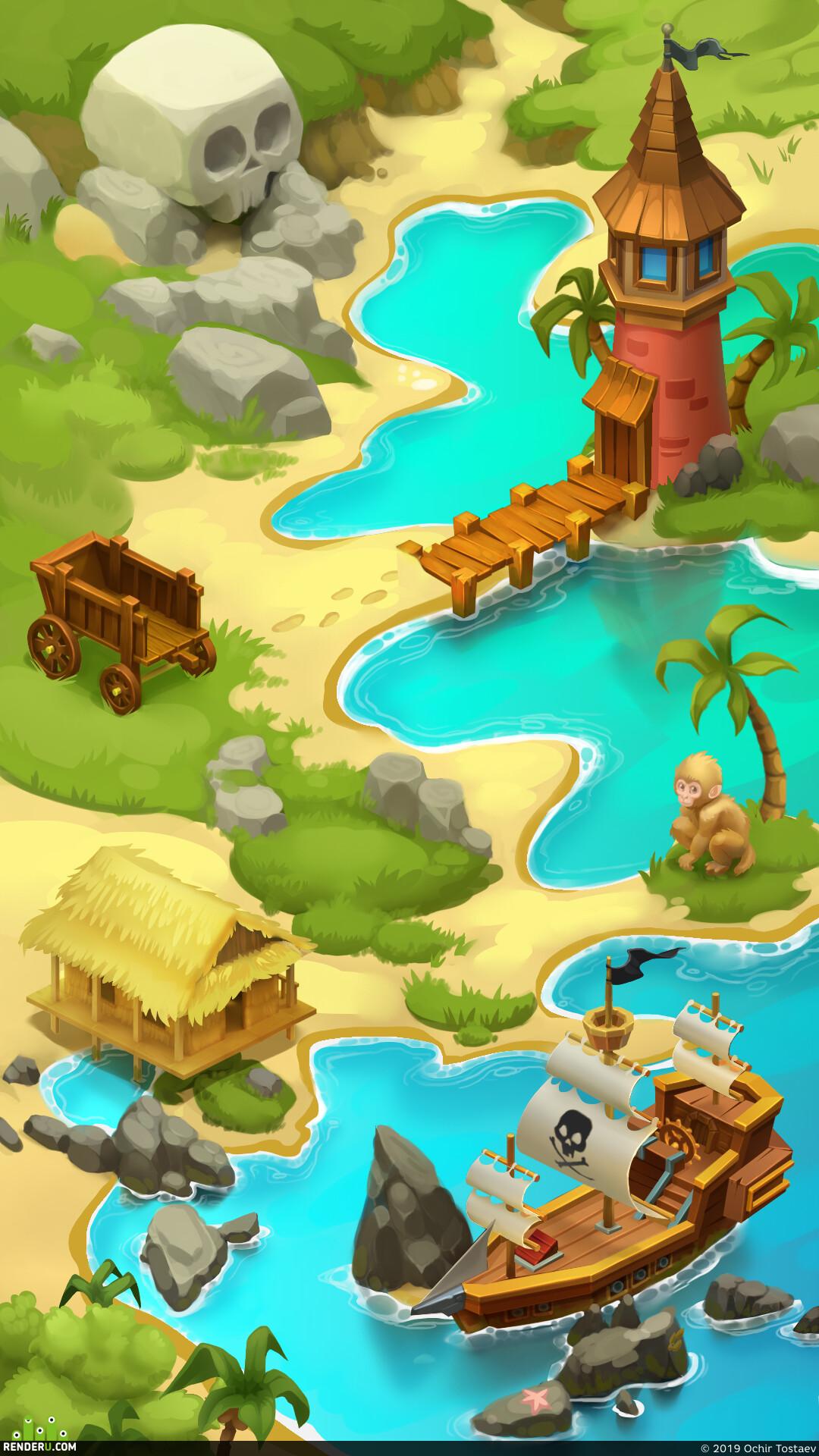 пираты, Остров, Пляж, корабль, телега, мартышка, башня, хибара, карта