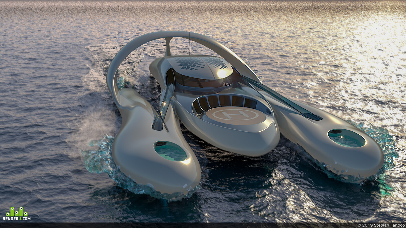 концепт дизайн, 3ds max, Adobe Photoshop, Yacht, watercraft, Transport & Vehicles, транспорт