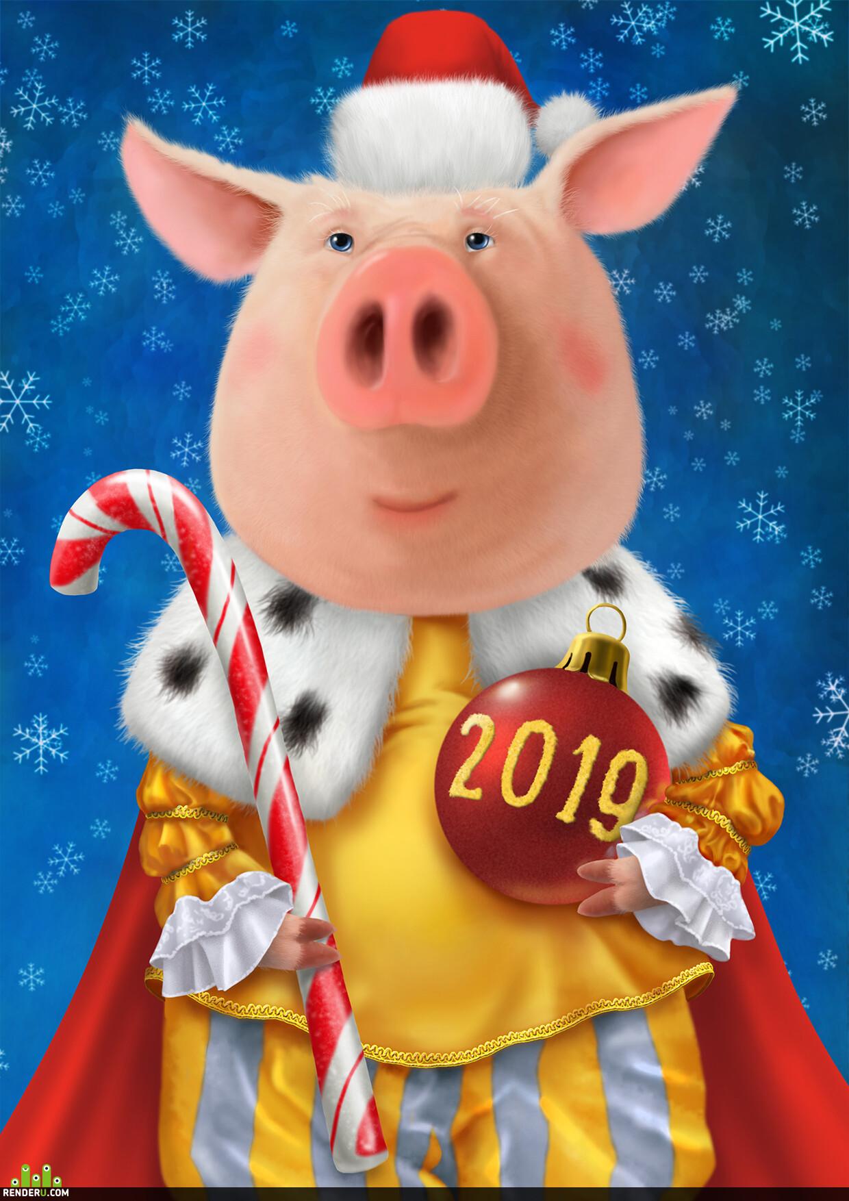 новый год, свинья, Персонажи, открытка