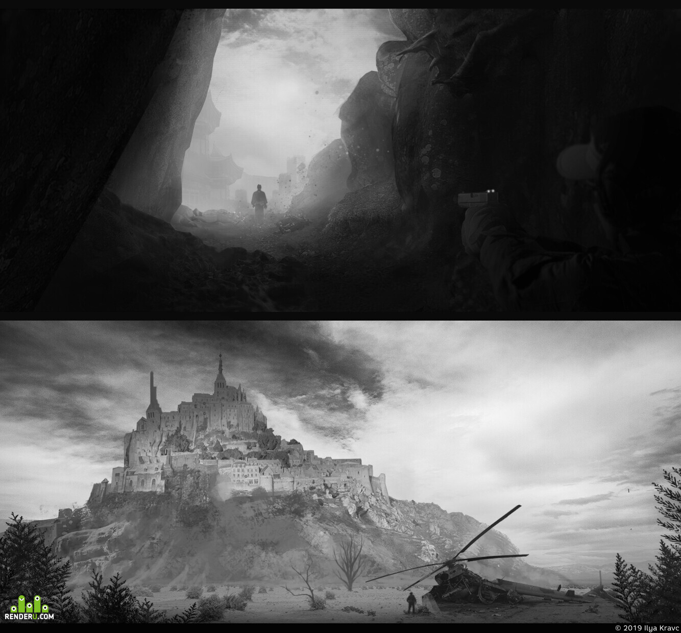 Mesa, cave, helecopter, city, hunter, Hunter Killer