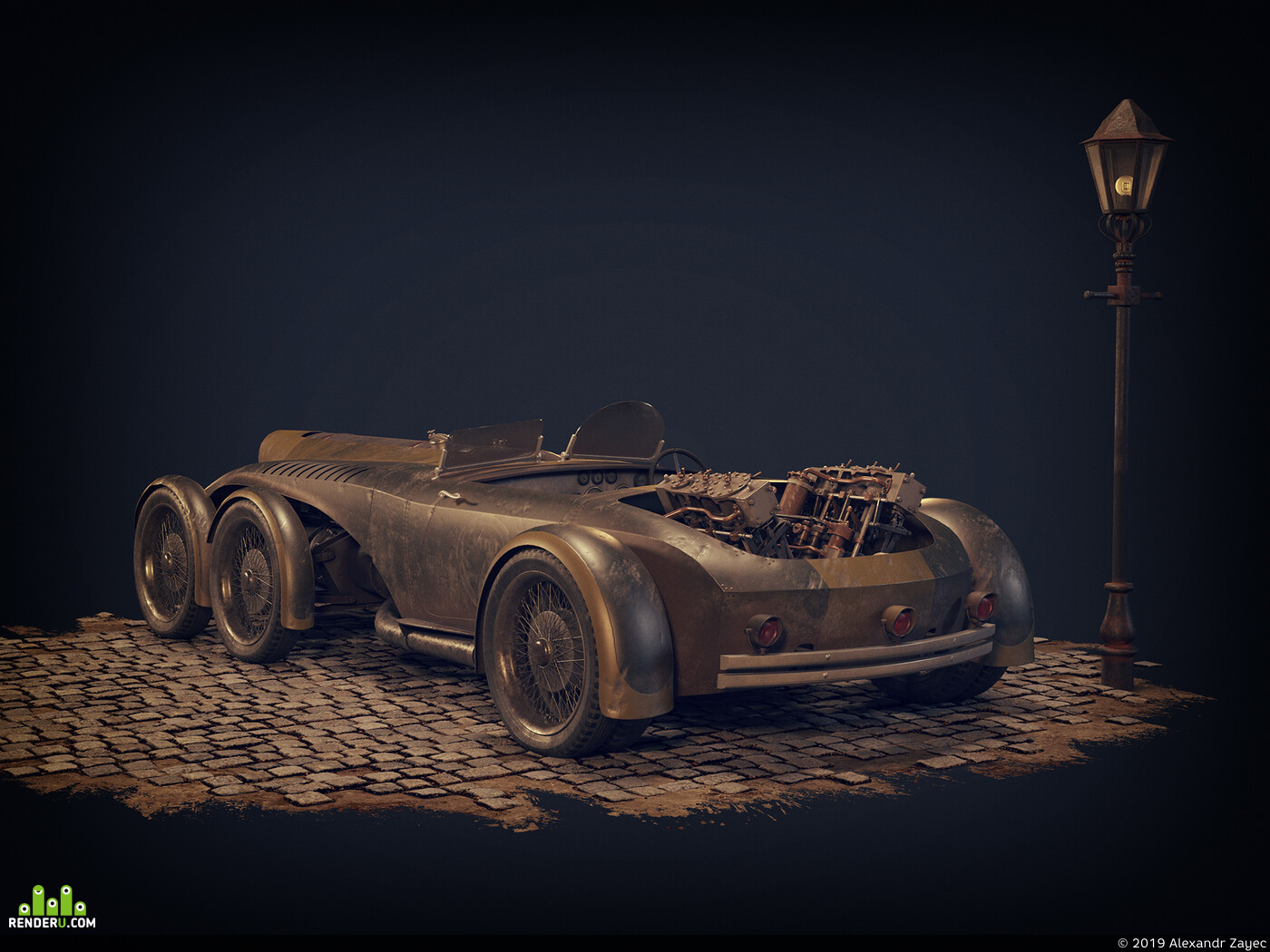cars, Steam, 3d, retro futuristic, steam engine