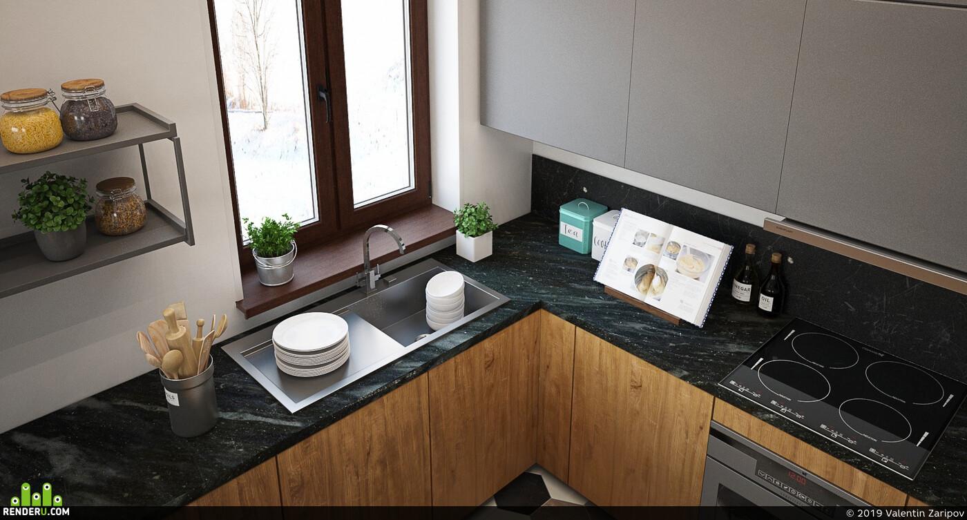 Визуализация, 3д визуализация, коттедж, Загородный дом, интерьер, дизайн интерьера, визуализация интерьера, дизайн, кухня, прихожая