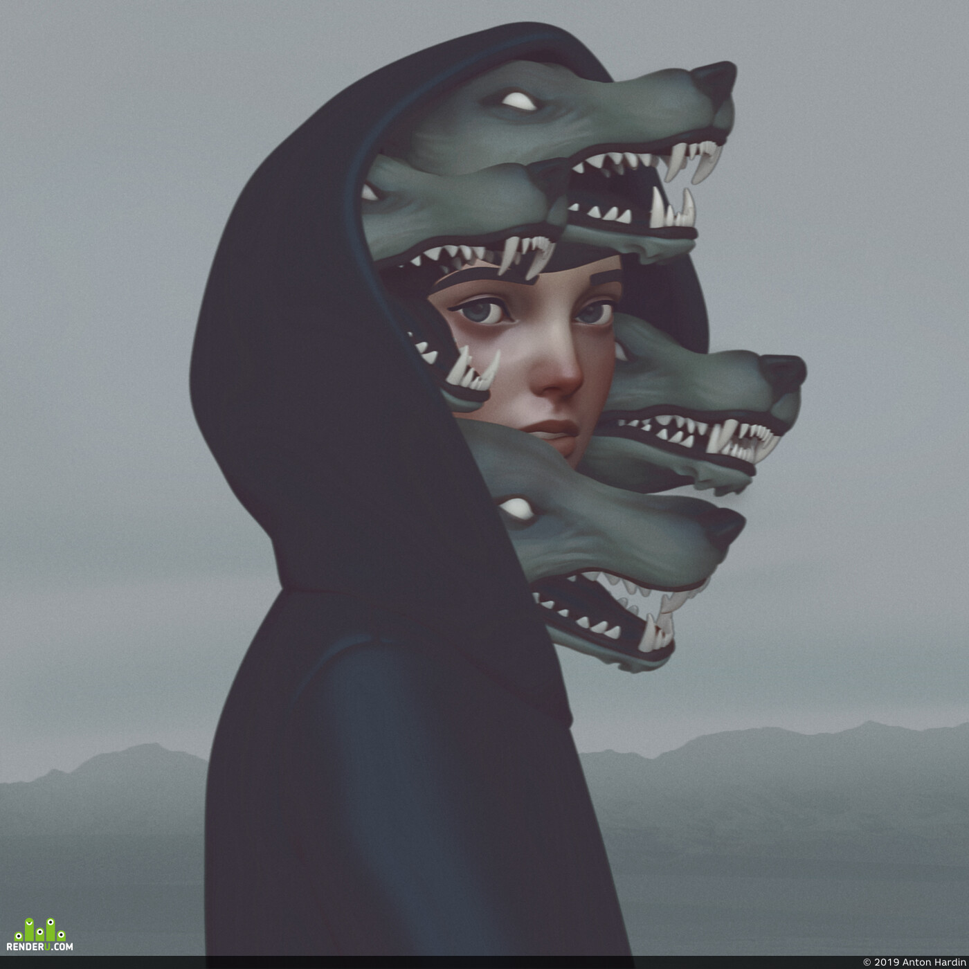 digital 3d, Characters, Wolfs, girl, 3d, ZBrush, Photoshop, Surreal, Scuplt
