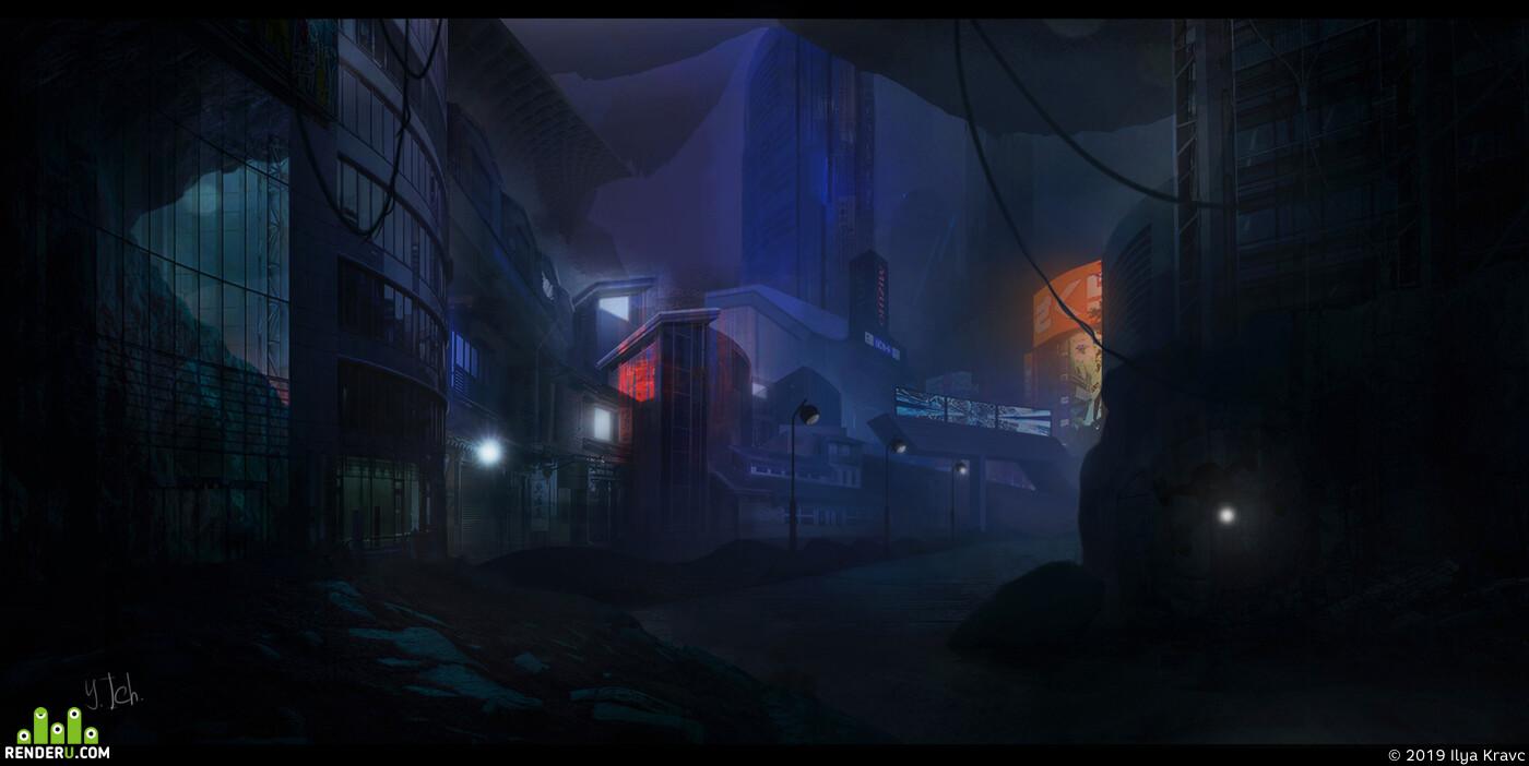 city, night city, cave