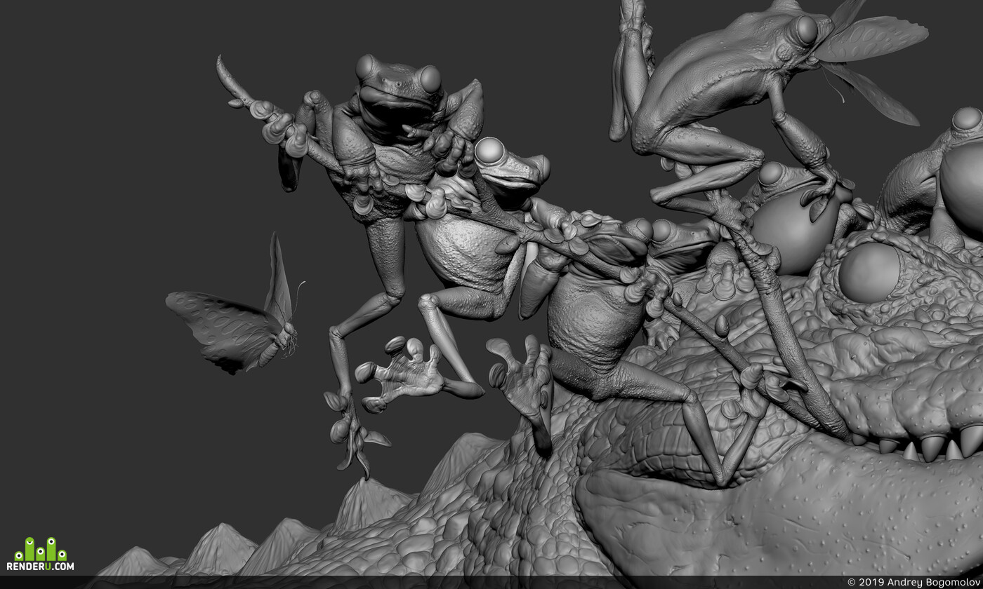 crocodile, frog, pirates, pirate ship, illustration, Fantasy, characterdesign, characterart, sculpture, cgsculpt