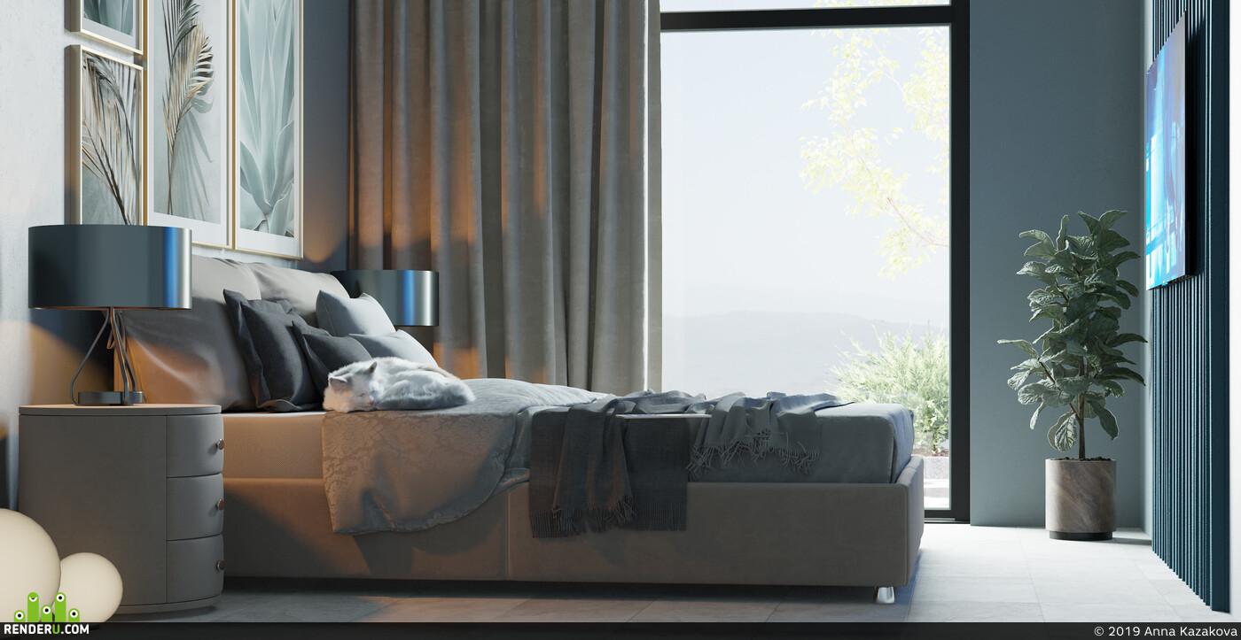 дизайн спальни, интерьер спальни, интерьер, кровать