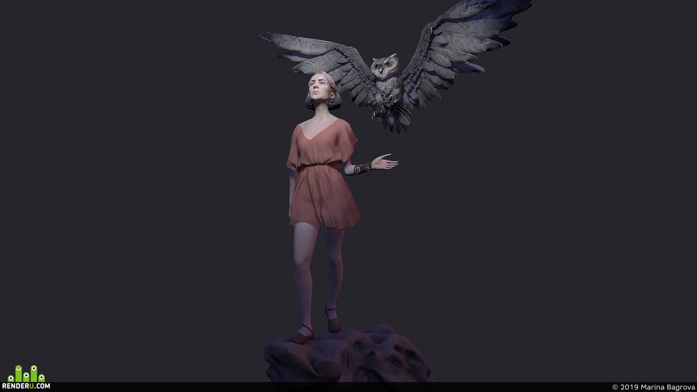 girl, owl, fantasfantasy, Fantasy, magic