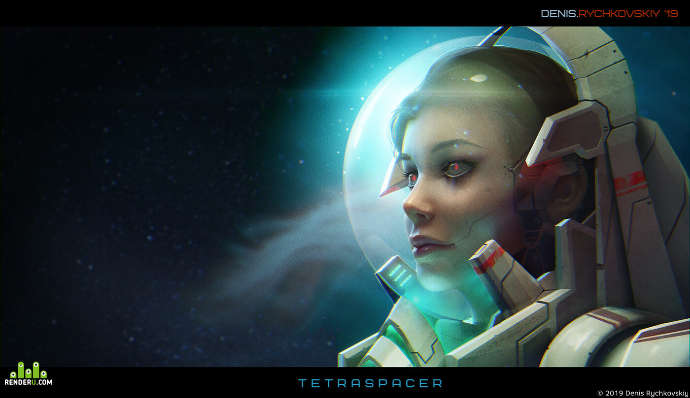 tetra, spacegirl, open space, deadspace, Space, woman, girl, cyborg, cyborg girl