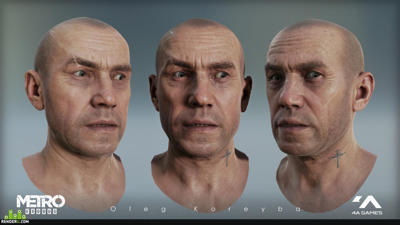 Персонажи, персонаж, игровой персонаж, 3д персонаж, 3д моделирование, 3д модель, мужской персонаж, голова, кожа текстура, Текстурирование