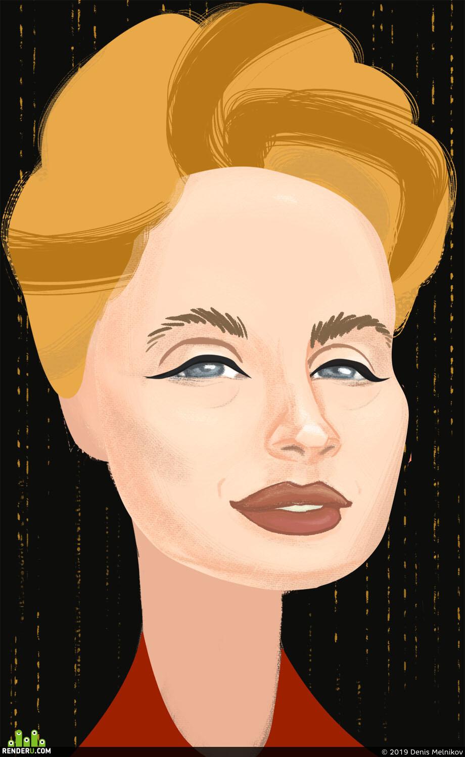 портрет, девушка, лицо, Юмор