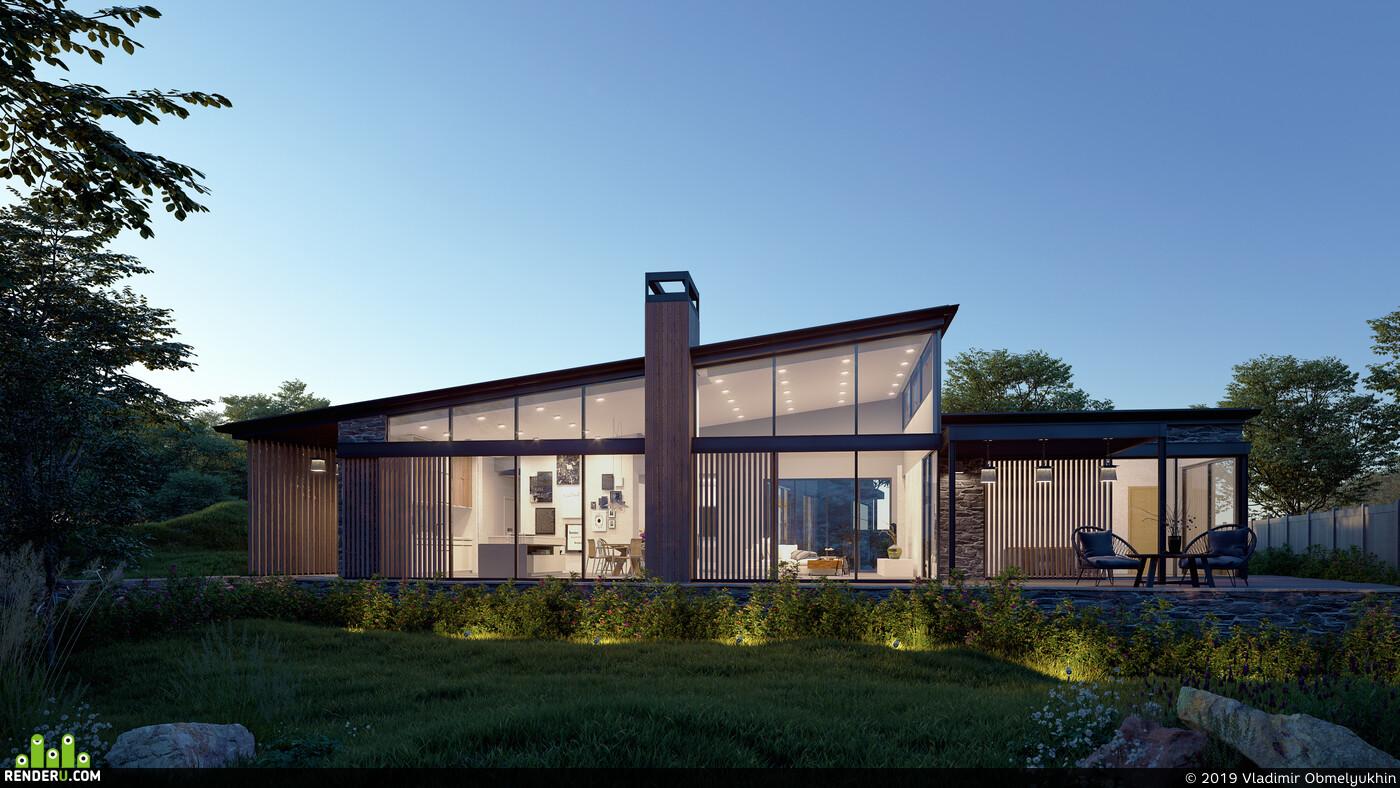 Экстерьер, Визуализация, частный дом, Вечернее освещение, фотореализм, 3dmax, Corona Renderer