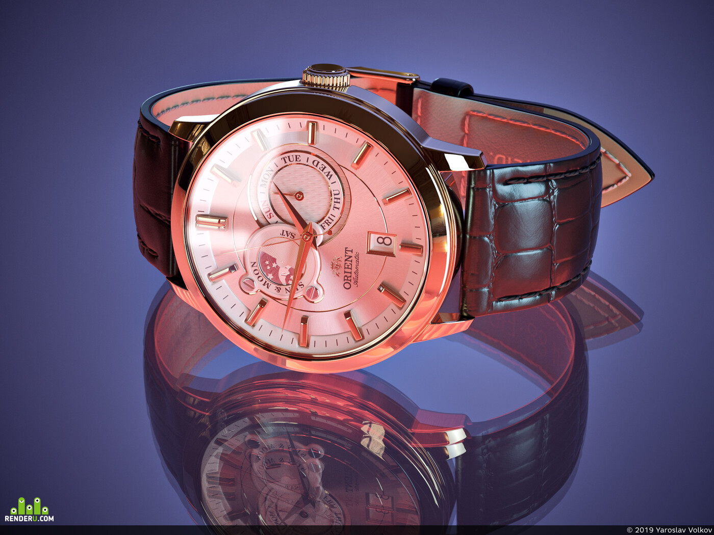 наручные часы, Предметная визуализация, Кожа, металл, механизмы