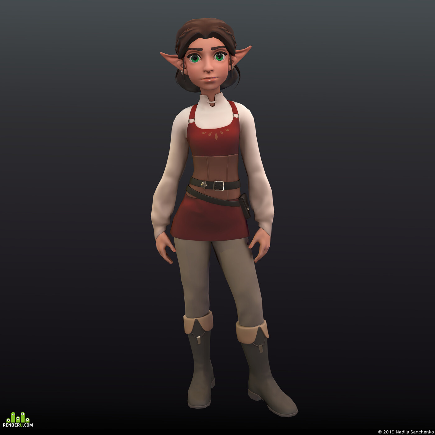 Fantasy, 3d, lowpoly, sculpting, mobilegame, stylized, elf, 3d character, cartooncharacter