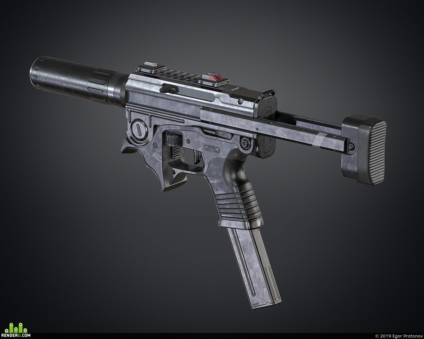 3d, gun, weapon, MK11, PBR, cg art, Компьютерная графика/CG, materials, Blender, substance painter