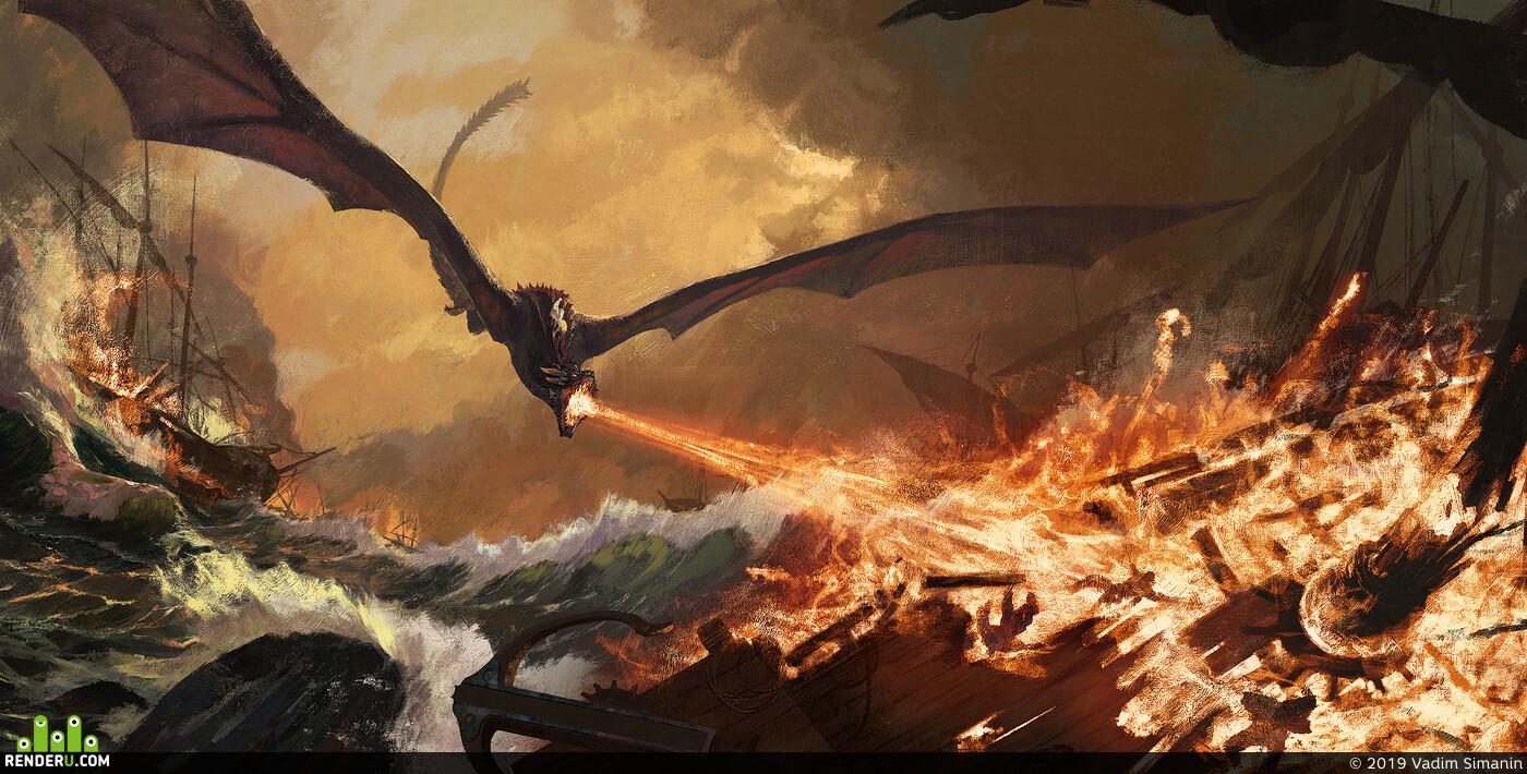 daenerys, digital, drogon, Environments, gameofthrones, illustration, sea, ship, fire