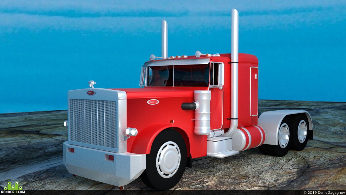 грузовик, Колесо грузовика, машина, красный