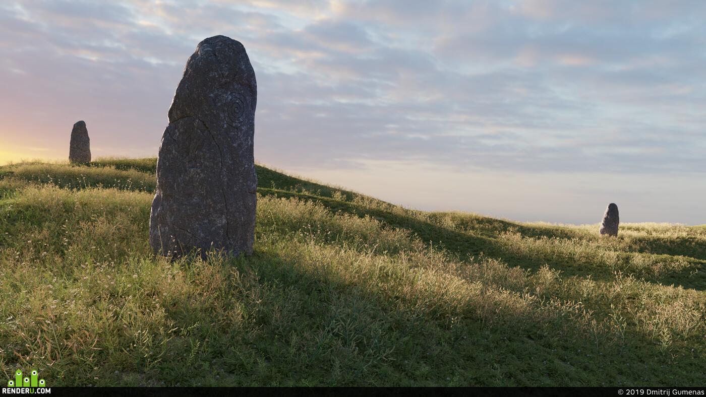 поле, трава, камень, Пейзаж