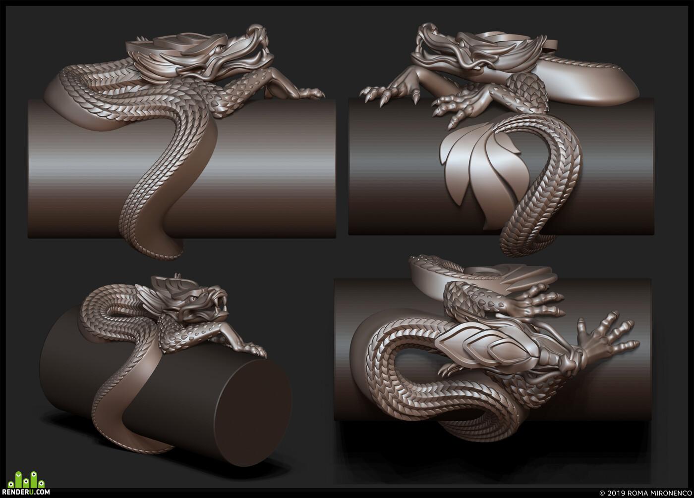 перстень серебро череп, дракон, серебро