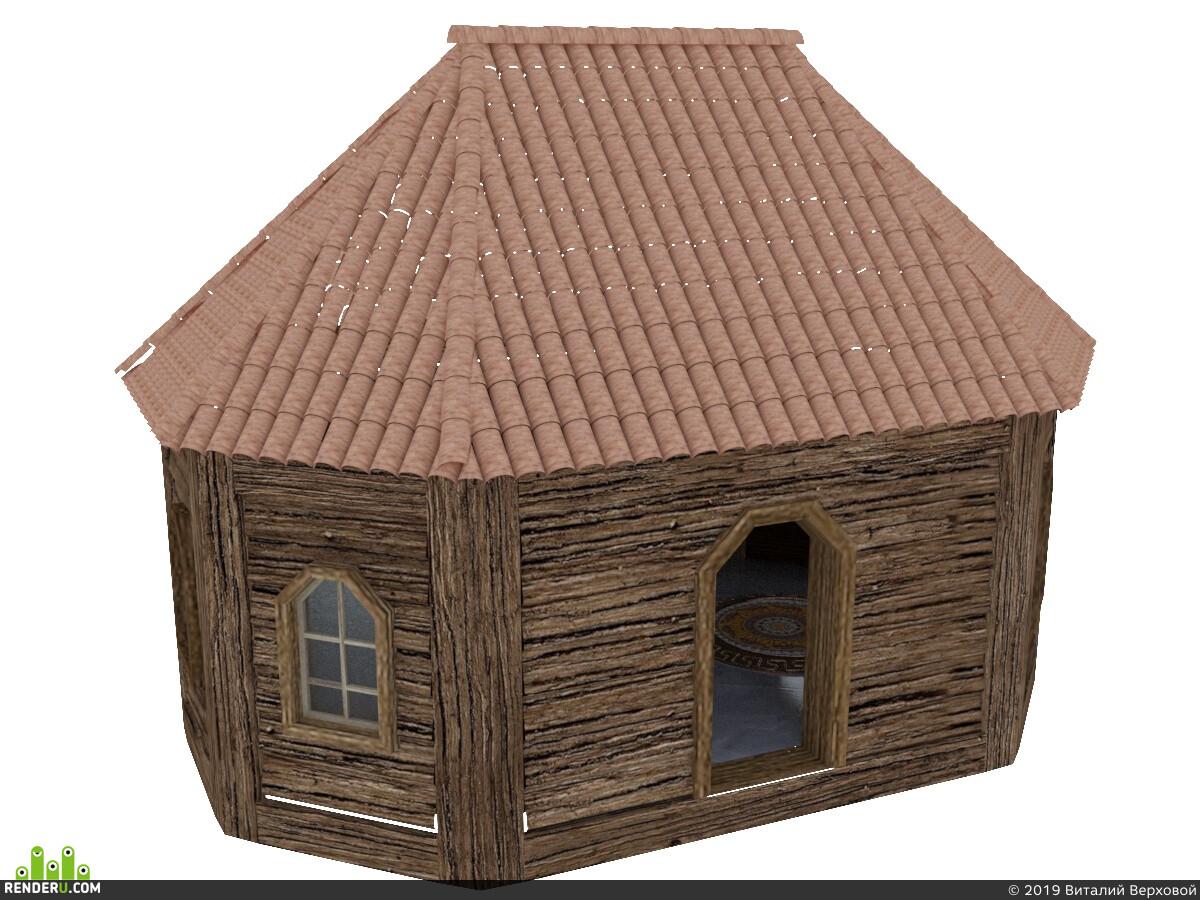 деревянный домик, черепица, средневековье