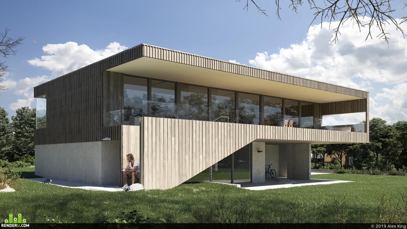 частный дом, Загородный дом, дом, 3д визуализация, 3D архитектура