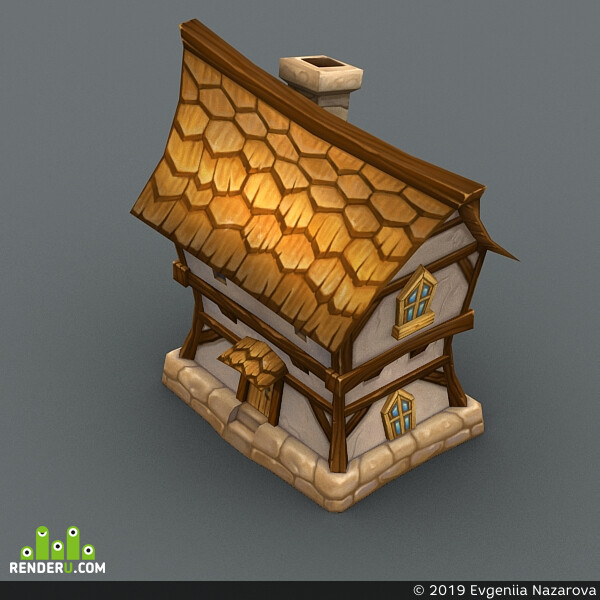 game, art, Cartoon, house, low, poly, 3d, model, drawing, lowpoly