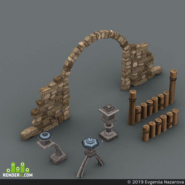 isometric, game, art, Cartoon, house, low, poly, 3d, model, drawing