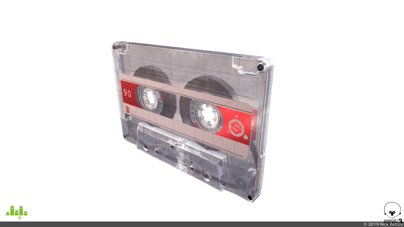 80s, audio tape, lowpoly, game asset