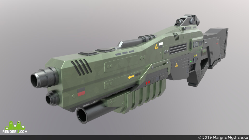sci fi weapon, 3d, 3dmodels, 3D making of, 3dmodeling, Autodesk Maya 2019, 3D моделирование в MAYA, Maya, Arnold, gamedevelopment