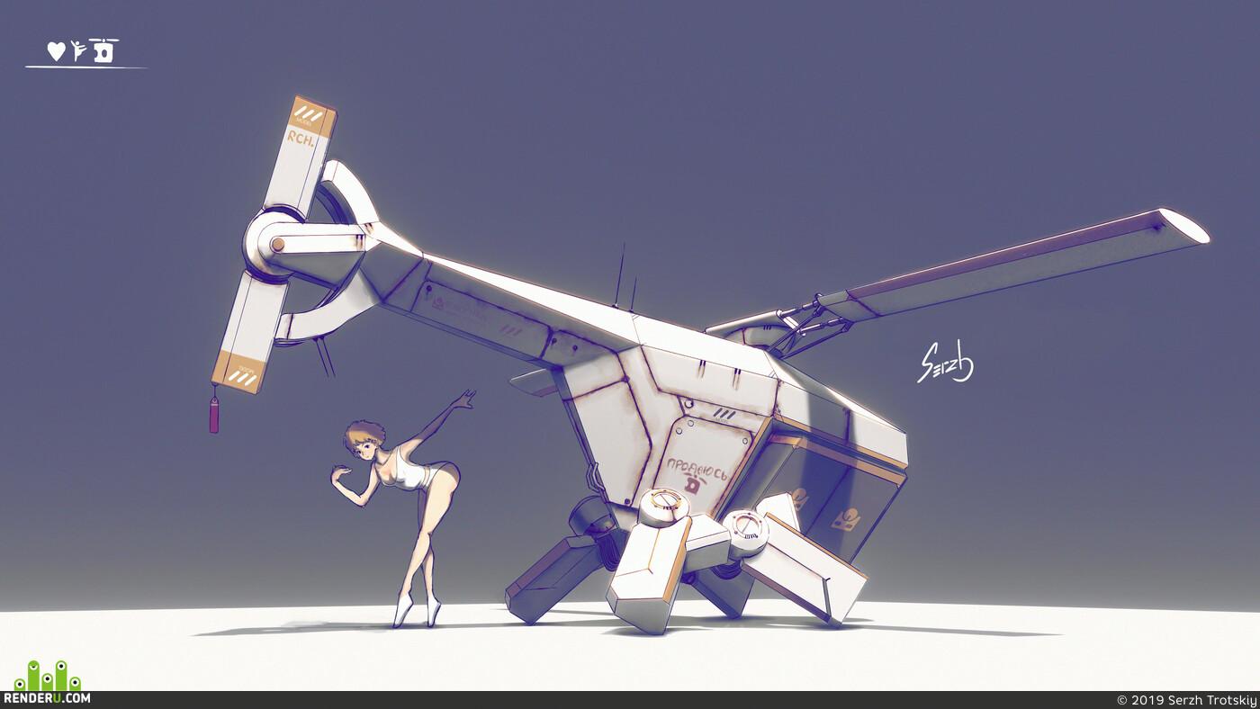 sci-fi, hi-tech, girl, concept-art