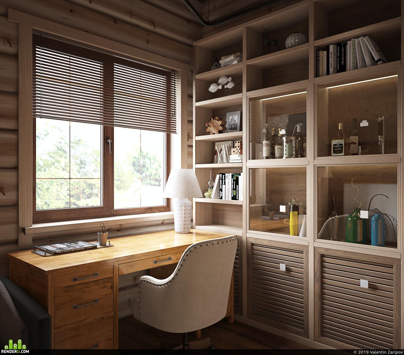 3д макс, вирей, Визуализация, интерьер, визуализация интерьера, дизайн, Дизайн Проект, кабинет, Загородный дом