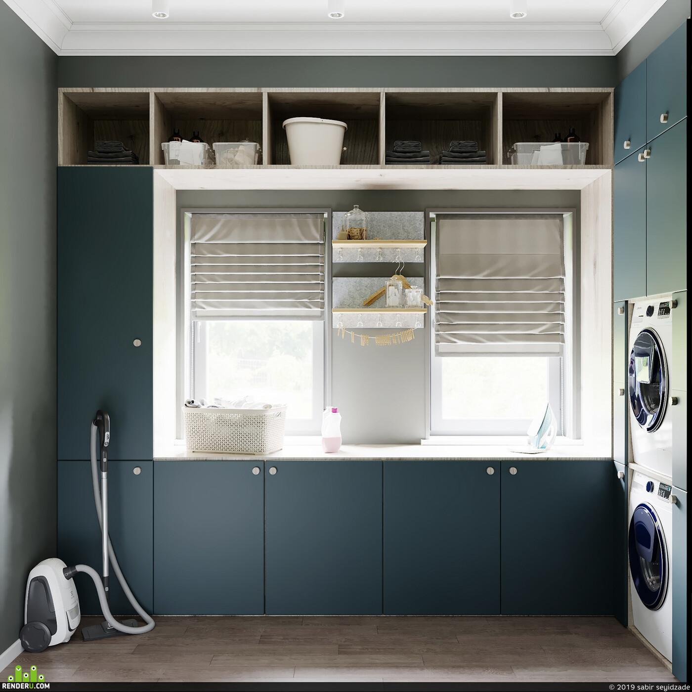 interior design, 3ds max, Corona Renderer, Прачечная, visualization