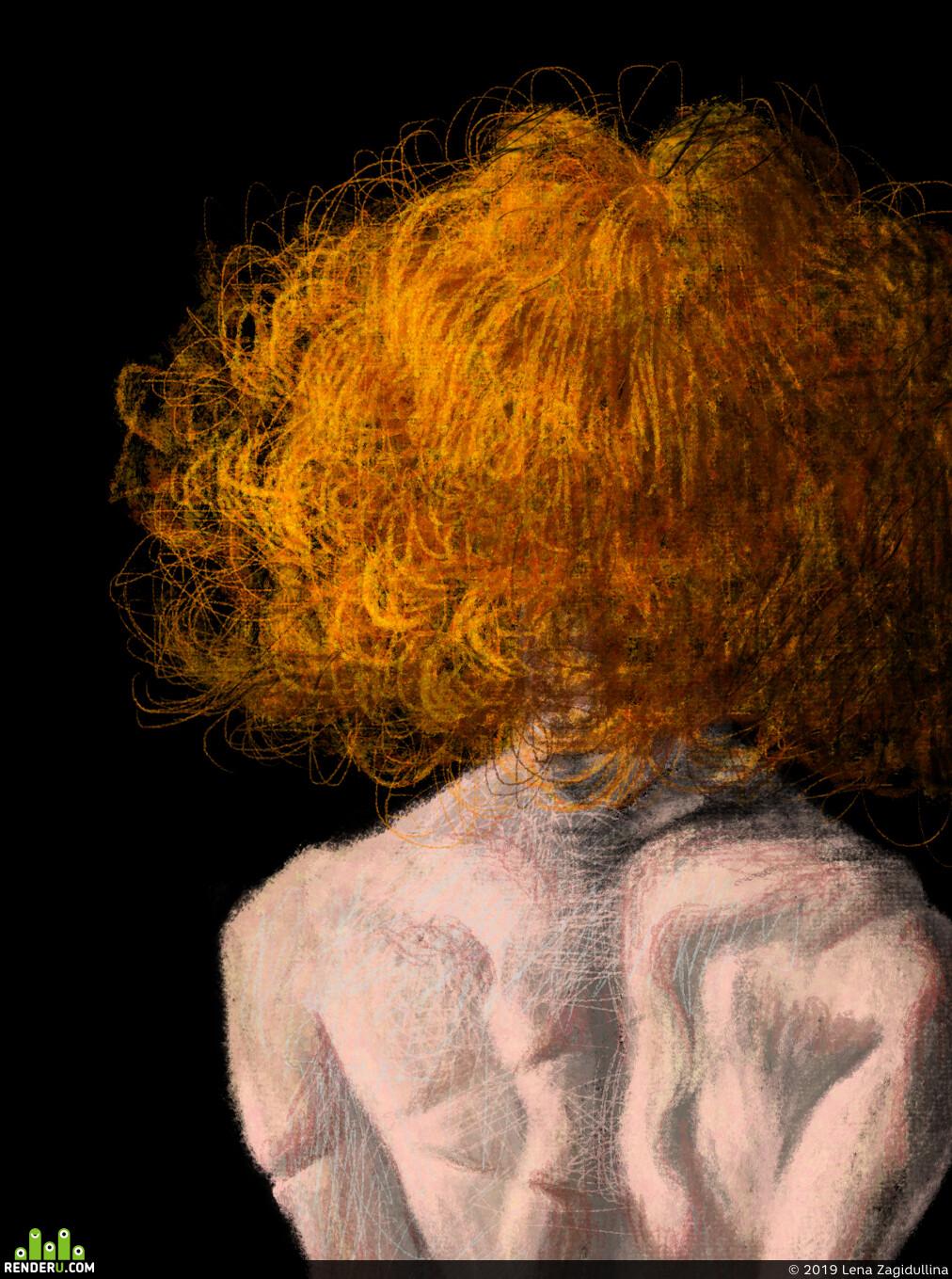 портрет, Концепт-арт, рисунок, девушка, характер, тьма