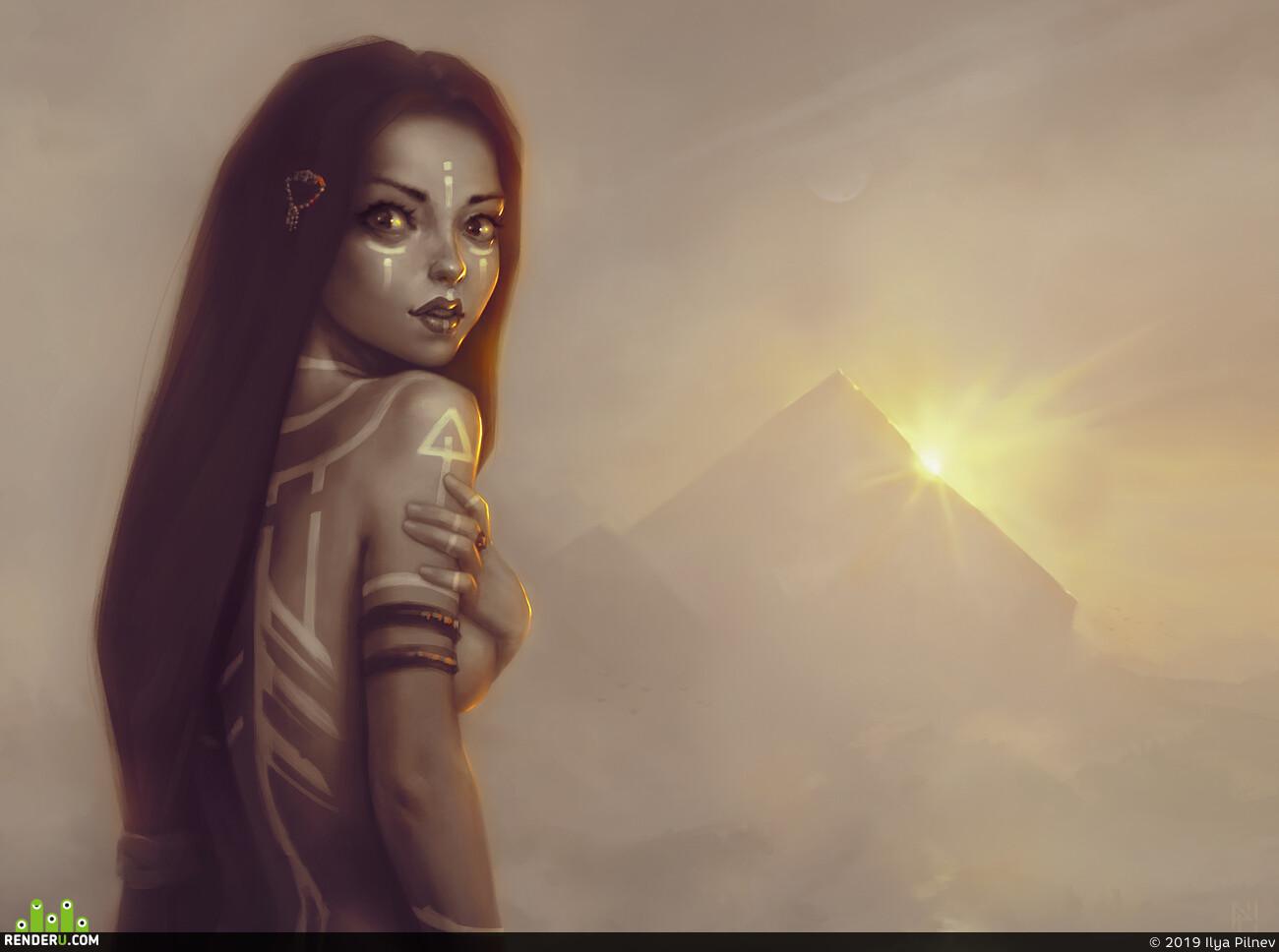 жрица, свет, пирамида, солнце