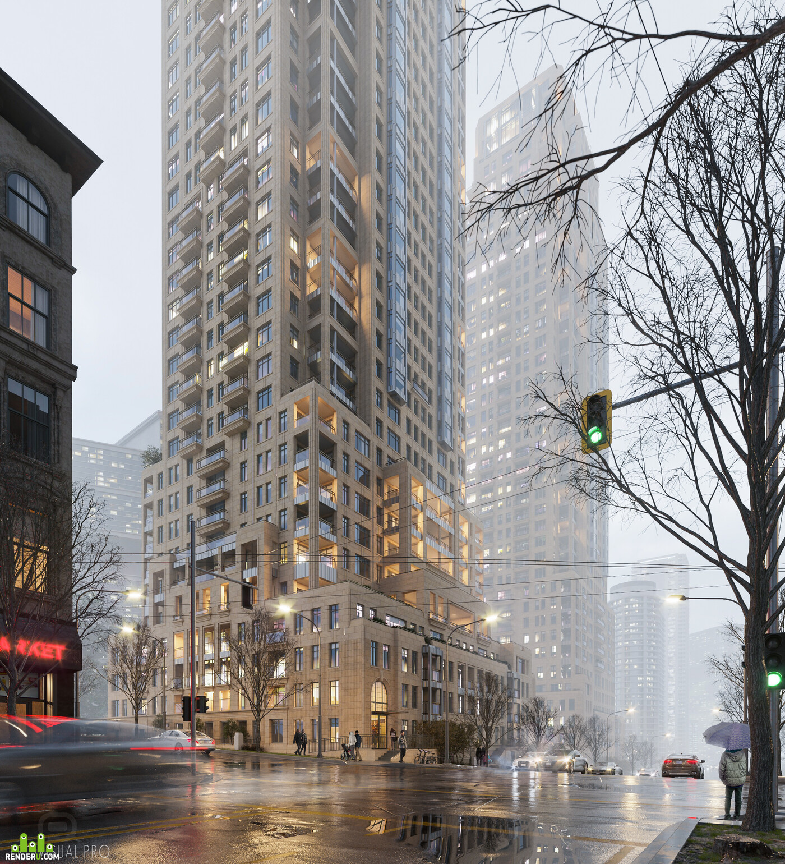 skyscraper, residential complex, visualization, 3d modeling, Exterior, Canada, architecture, architectural visualization, architectural modeling, skyscraper visualization
